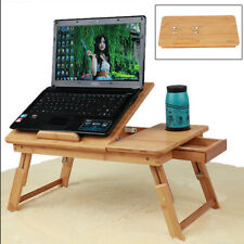 Adjustable Laptop Desk Table 100% Bamboo Breakfast Serving Bed Tray With Drawer