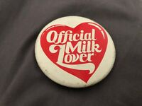 official Milk Lover Button Pin Rare