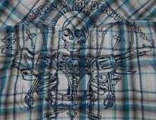 Levis Camisa Manga Corta Cráneo Huesos libertad muerte armas Blanco Azul a Cuadros M