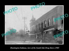 OLD LARGE HISTORIC PHOTO OF HUNTINGTON INDIANA, THE SOUTH SIDE DRUG STORE 1905