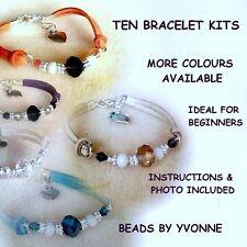 C/dix en daim synthétique coeur charme bracelet kits perles cristal bijoux craft making