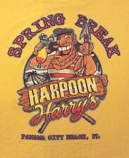 VINTAGE XL YELLOW SPRING BREAK HARPOON HARRY'S  PCB GRAPHIC CREW NECK T SHIRT