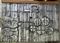 "4'4"" Wide 3' Tall 3"" Deep Catholic Mass Altar Backdrop Metal Fishes Cross Church"