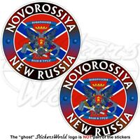 NOVOROSSIYA Confederation NEW RUSSIA Flag-Coat of Arms Decals, Stickers 75mm x2