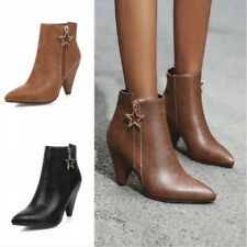 Womens Ladies Ankle Boots Cone Block High Heels Celeb Gift Size 35-47 Outdoor UK