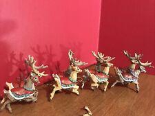1992 Hallmark Keepsake Ornaments Santas Reindeer 4 Piece Set CollectionHoliday
