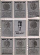 NAISMITH BASKETBALL HALL OF FAME METALLIC  8 CARDS AND THE HEADER THOMPSON RARE