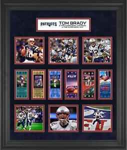 "Tom Brady New England Patriots Frmd 23"" x 27"" 6x Super Bowl Champ Ticket Collage"