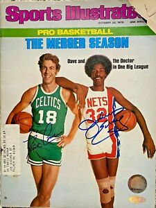 Dave Cowens and Julius Erving Signed Sports Illustrated Magazine Steiner COA