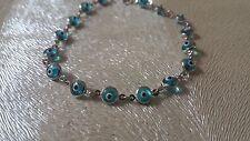 """14K White Gold Evil Eye Good Luck Light Blue 5mm Crystal Bracelet chain 7"""""""