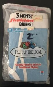 Vtg 1984 Fruit Of The Loom Colored Fashion Briefs Tan Blue Mens S 30-32 Sealed