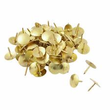 50 Brass Drawing Pins - Strong Head Push Cork Board Thumb Tacks Boxed