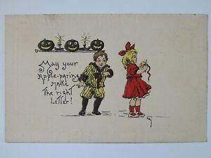 Antique 1911 Halloween Boy Girl Apple Paring Pumpkin Jack-O-Lantern Postcard