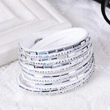 Swarovski Elements -White - New Lovely Leather Slake Bracelet Made With