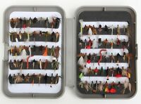 Fly Fishing Box & Trout Fishing Flies - Wets Dries Nymphs Buzzers Fly Hooks 12