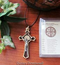 St. Benedict 2.25 inch Crucifix w Cord Pendant Gold Plated