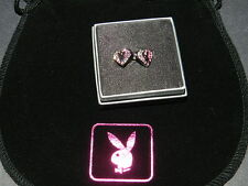 Playboy girl next door stud heart Earrings Crystal NEW IN BOX 100% Authentic
