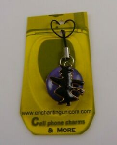 Witch Halloween Glitter Cell Phone Charm cellphone purple black