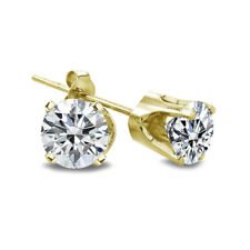 1/4 Ct Round Diamond 14K Yellow Gold Stud Earrings