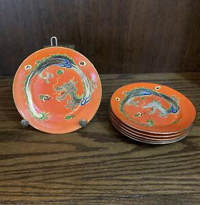 Vintage Dragonware Orange Moriage Small Plates Saucers Lot Of 6