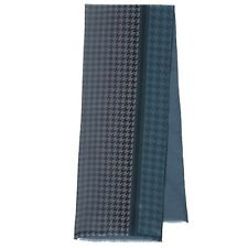 Russian Pavlovo-Posad Men's Scarf 100%Silk / Wool 27x140cm Grey/blue