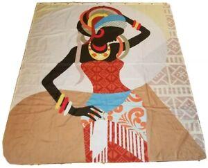 African American Black Lady Woman Girl Shower Curtain Headdress Ancestral Art