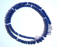 edelsteine24 Natur blaue echte Saphir Kette fac. Linsen 4-7mm-46,5cm 925/-!K5