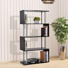 Homcom Bookshelf Bookcase Shelf Storage Wood Furniture Home Office Modern Black
