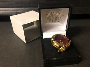 DR DOCTOR WHO Boxed SEAL OF RASSILON Analogue RING WATCH 'Gold' Aqua 1996 BBC