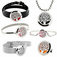 Tree Of Life  Aromatherapy Bracelet Essential Oils Diffuser Locket Bangle Gifts