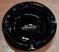 """Vintage Mandalay Bay Resort & Casino black Amethyst Glass Ashtray 4.5"""" round"""