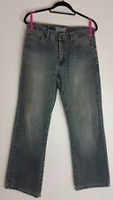 mens blue straight leg jeans 100% size W32 L30 cotton classic fit faded