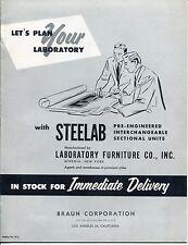 """Vintage """"STEELAB"""" Sales Catalog: LAB FURNITURE, FUME HOOD, VALVES"""
