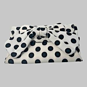 Lulu by Lulu Guinness Handbag Purse White and Black Polka Dots with Bow