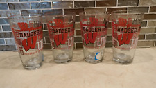BRAND NEW LOT OF 4 NCAA UNIVERSITY OF WISCONSIN BADGERS 16oz. PINT GLASSES