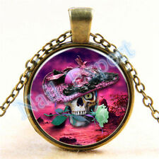 "SKULL ROSE CABOCHON NECKLACE    18""   ITEM #RM-10    C/S & H AVAILABLE"
