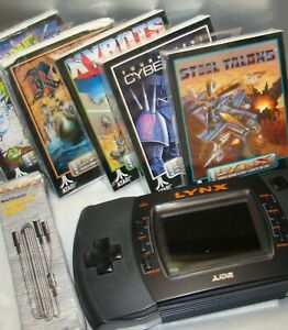 Atari Lynx (console no power) Lot of 5 games Brand New Factory Sealed Link cable