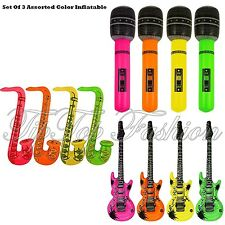 New Inflatable Set Of 3 Guitar,Saxophone,Microphone-3 ASSORTED ITEMS Fancy Dress