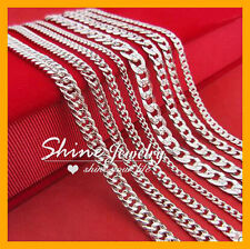 925 SOLID STERLING SILVER FILLED PLAIN CURB CHAIN 4MM NECKLACE MENS WOMENS GIFT