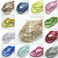 EG_ New Colors 100Pcs Cube  Crystal Glass Loose Spacer 4mm Beads Jewelry Finding