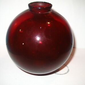 VINTAGE RUBY RED GLASS LIGHTNING ROD BALL