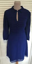 KAREN MILLEN COBALT BLUE CHIFFON FLOATY PLEATED FRONT SHIRT DRESS UK 12