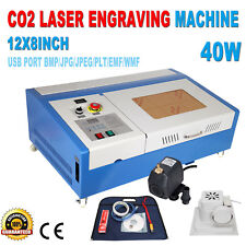 40W CO2 Laser CNC Engraving Cutting Engraver Cutter Machine 12x8""