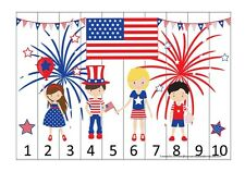 4th of July themed 1-10 Number Sequence Puzzle and Game Board. Laminated Learnin