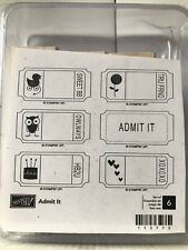 Stampin Up ADMIT IT ticket stubs cake, hearts, flower, Duck, Owl