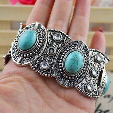 Classical Women's Retro Vintage Natural Turquoise Tibet Silver Bracelet Bluelans