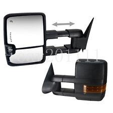 For 07-13 Silverado Sierra Manual Tow Mirrors w/Turn Signal Backup Lamps Black