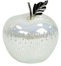 16cm Deko Obst Apfel weiß & Hochglanz Dolomit LED Licht