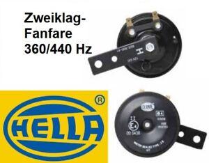 HELLA Signalhorn Hupe 2er Set 12V 360/440Hz PKW Motorrad 105-118dB Satz