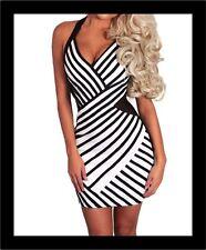 Unbranded Halter Neck Party Striped Dresses for Women